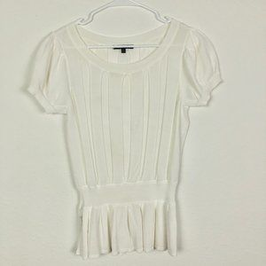 Anne Klein White Short Sleeve Pleated Blouse